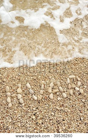 Hvar word made of pebbles, authentic picture of Hvar's beach