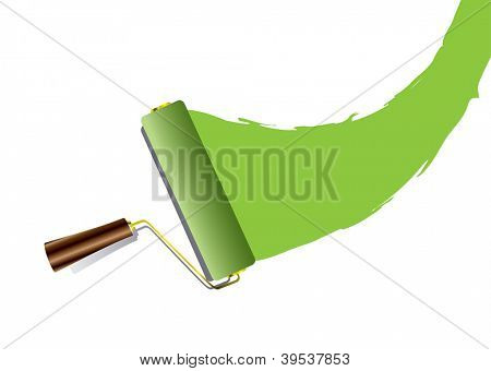 Green swoosh paint splat with roller and wood handle