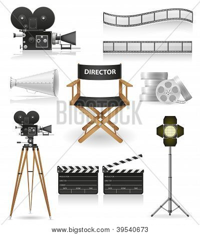 Set Symbole Kamera Kino und Film Vektor-illustration