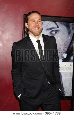 LOS ANGELES - NOV 29:  Charlie Hunnam arrives at the 'Deadfall' premiere at ArcLight Hollywood Theaters on November 29, 2012 in Los Angles, CA