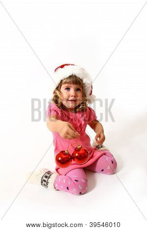 New Year Or Christmas Sweet Baby In A Pink Dress Isolated On White Background