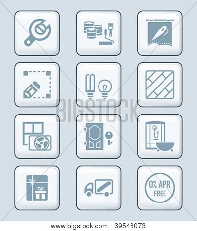 Home repair, remodeling, redecoration and shop services gray icon-set