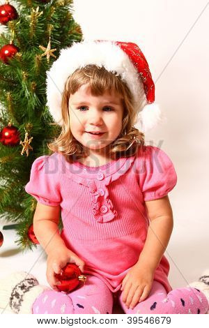 Happy Baby Near New Year Or Christmas Tree Isolated On White Background