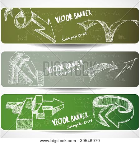 Web banners with Hand-drawn sketchy arrows. eps 10. Image contain transparency and various blending modes