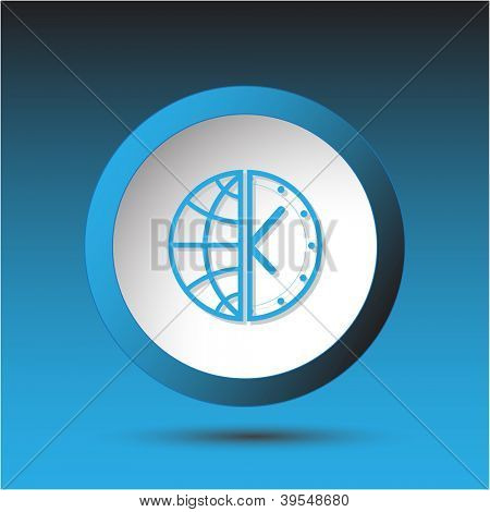 Globe and clock. Plastic button. Vector illustration.