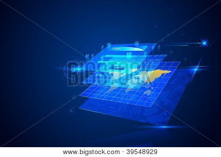 illustration of technology background with login screen