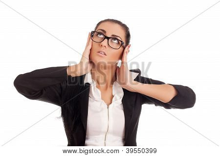 Portrait of young stressed business woman