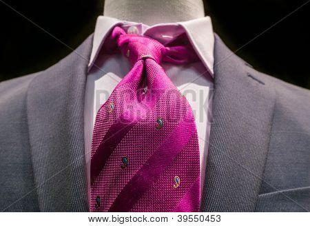 Grey Jacket With Magenta Tie