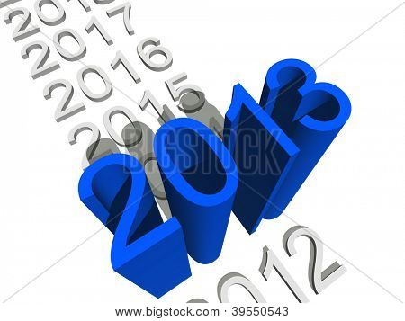 High resolution concept or conceptual 3D blue 2013 year isolated on white background a s metaphor to holiday,symbol,Christmas,calendar,happy,eve,December,January,time,season,new year or winter graphic