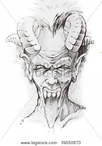 Tattoo sketch of devil head, hand made