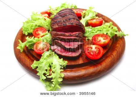 Beef Meat Steak Served With Vegetables