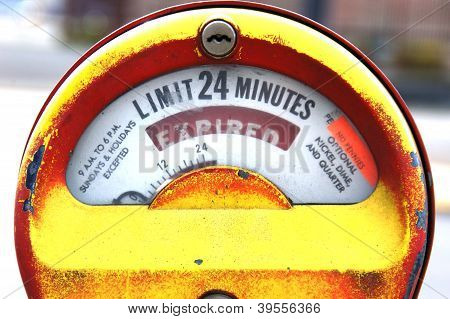 Yellow Parking Meter Expired