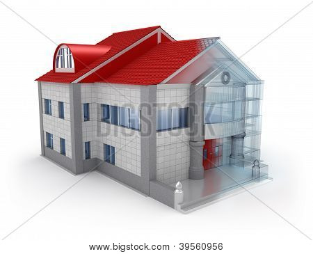 Exterior house design. Over white background