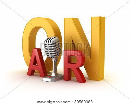 On Air word and microphone 3d concept