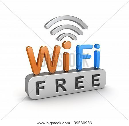 WiFi free zone sign. 3D icon over white
