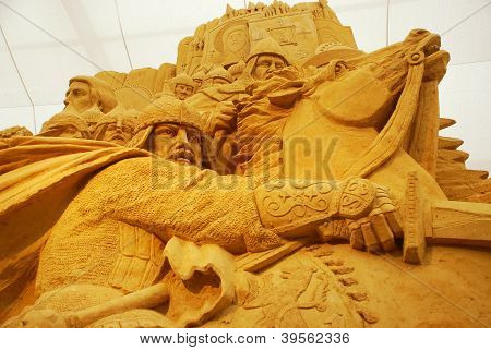 Sand Sculpture Of Knightly Battle