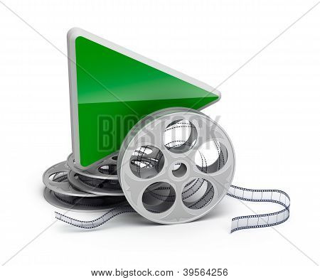 Play button and movie reel. isolatd 3D icon