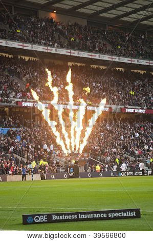 TWICKENHAM LONDON - NOVEMBER 10: Opening fireworks celebrating at England vs Fiji, England playing in white Win 54-12, at QBE Rugby Match on November 10, 2012 in Twickenham, England.