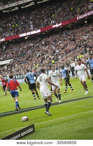 TWICKENHAM LONDON - NOVEMBER 10: Ugo Monye turns to team mates after Scoring try at England vs Fiji, England playing in white Win 54-12, at QBE Rugby Match on November 10, 2012 in Twickenham, England.
