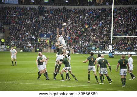 TWICKENHAM LONDON - NOVEMBER 23: Geoff Parling Jumps for ball at England vs South Africa, England playing in white lose 16-15, at QBE Rugby Match on November 23, 2012 in Twickenham, England