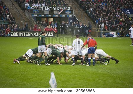 TWICKENHAM LONDON - NOVEMBER 23: English and South African Packs Scrum at England vs South Africa, England playing in white lose 16-15, at QBE Rugby Match on November 23, 2012 in Twickenham, England