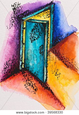 Abstract open door with light, watercolor with slate-pencil painting