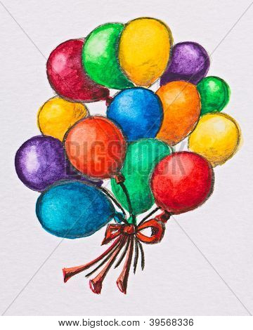 Multicolored celebration balloons, watercolor with slate-pencil painting