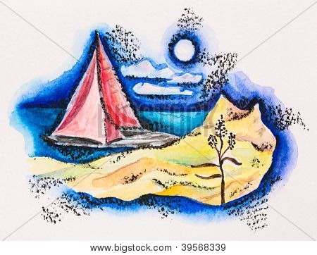 Scarlet sailed boat seascape, watercolor with slate-pencil painting