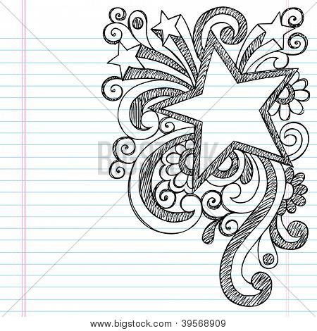 Star Frame Border Back to School Sketchy Notebook Doodles- Vector Illustration Design on Lined Sketchbook Paper Background