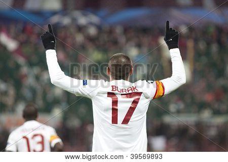 CLUJ-NAPOCA, ROMANIA - NOVEMBER 7: Burak Yilmaz in UEFA Champions League match between CFR 1907 Cluj vs Galatasaray,  on 7 Nov., 2012 in Cluj-Napoca, Romania
