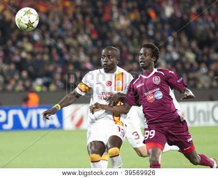 CLUJ-NAPOCA, ROMANIA - NOVEMBER 7: Nounkeu and Sougou in UEFA Champions League match between CFR 1907 Cluj vs Galatasaray,  on 7 Nov., 2012 in Cluj-Napoca, Romania
