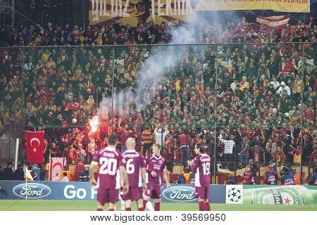 CLUJ-NAPOCA, ROMANIA - NOVEMBER 7: Galatasaray fans after scoring a goal, UEFA Champions League, CFR 1907 Cluj vs Galatasaray,  on 7 Nov., 2012 in Cluj-Napoca, Romania