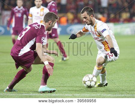 CLUJ-NAPOCA, ROMANIA - NOVEMBER 7: Ivo Pinto and Emre Colak  in UEFA Champions League match between CFR 1907 Cluj vs Galatasaray, on 7 Nov., 2012 in Cluj-Napoca, Romania