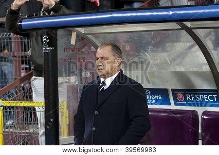 CLUJ-NAPOCA, ROMANIA - NOVEMBER 7: Fatih Terim in UEFA Champions League match between CFR 1907 Cluj vs Galatasaray, Dr. C. Radulescu Stadium on 7 Nov., 2012 in Cluj-Napoca, Romania