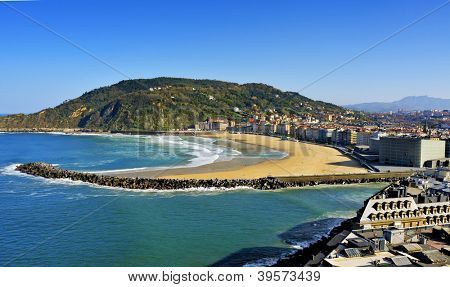 Zurriola Beach and Urumea River mouth in San Sebastian, Spain, in autumn