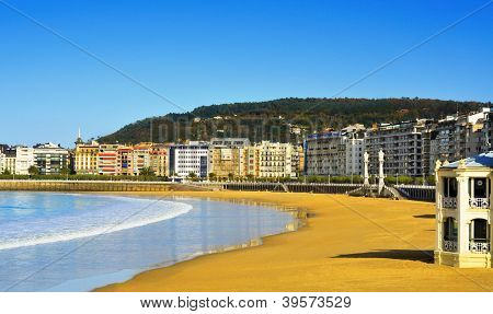 View of La Concha Beach in San Sebastian, Spain