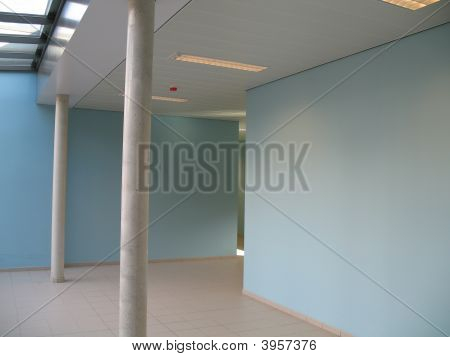 Corridor At School In Blue