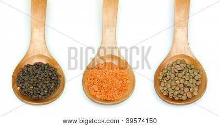 Lentil Split And Lentil Canada In Wooden Spoon