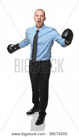 portrait of caucasian businessman with boxing gloves
