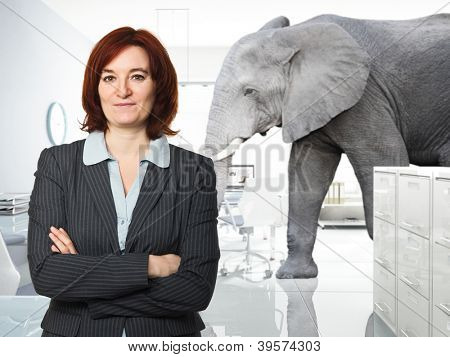 portrait of woman in office and elephant background
