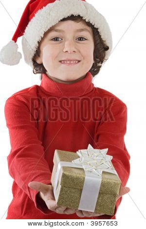 Adorable Boy With Red Hat Of Christmas And One Gift