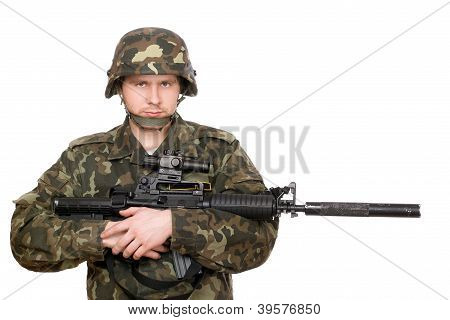 Soldier Hugging M16