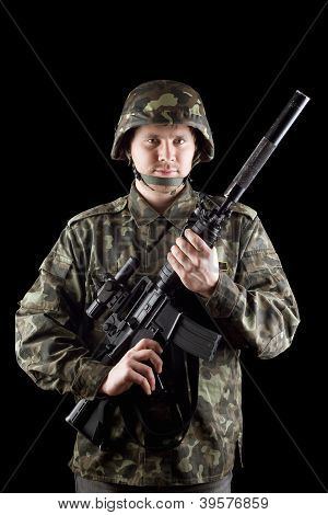 Soldier Staying With M16