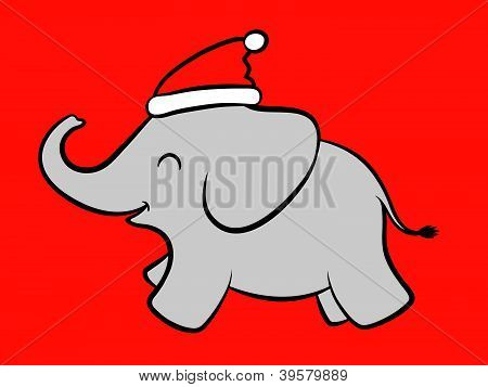 Merry baby Santa elephant