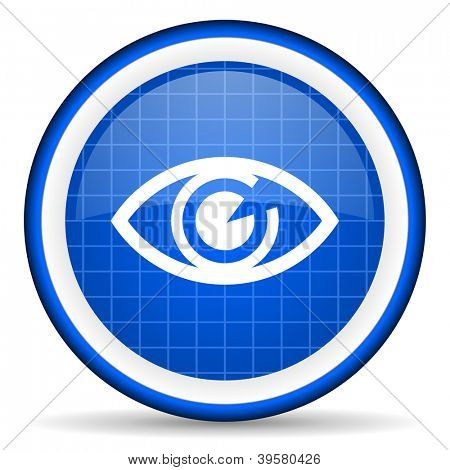 eye blue glossy icon on white background