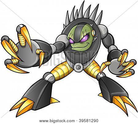Cyborg Ninja alienígena guerreiro robô Vector