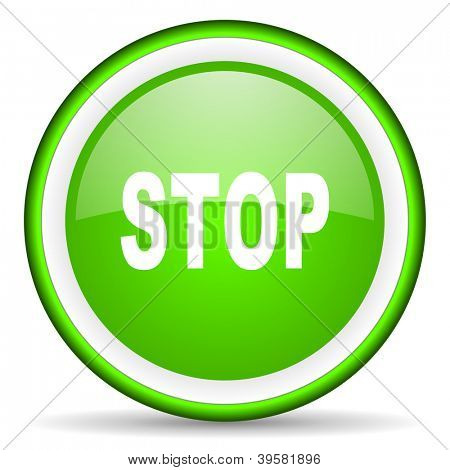 stop green glossy icon on white background