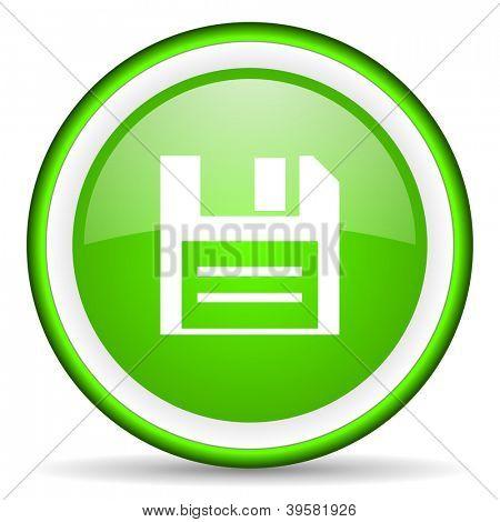 grün glänzend Diskettensymbol auf weißem Hintergrund