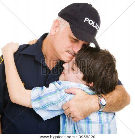 Police And Boy Hug