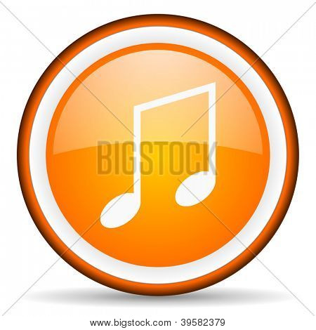 music orange glossy circle icon on white background